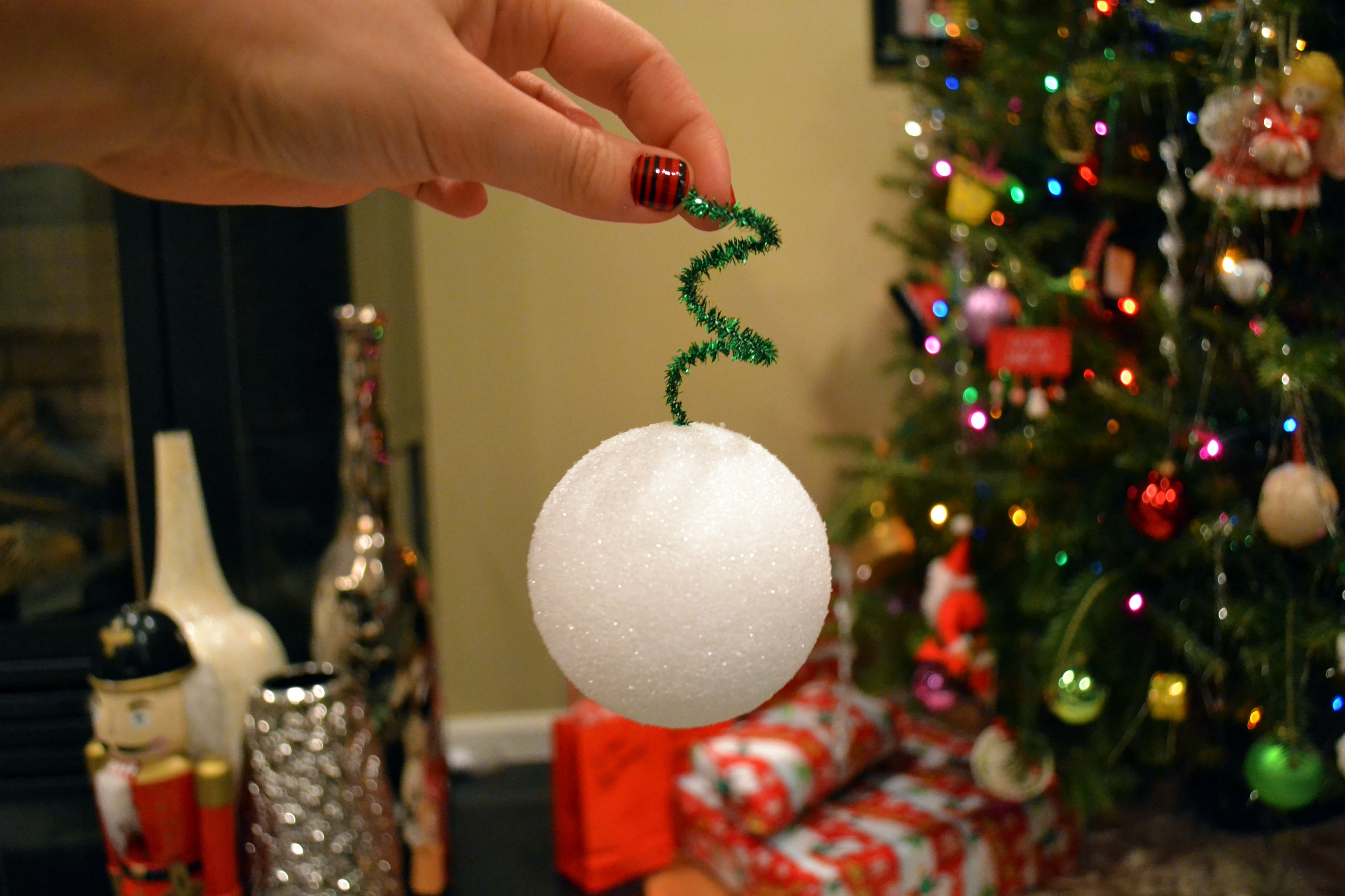 Press curly-Q into styrofoam ball, above. Cuuuute.