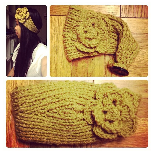 Crochet mustard headband