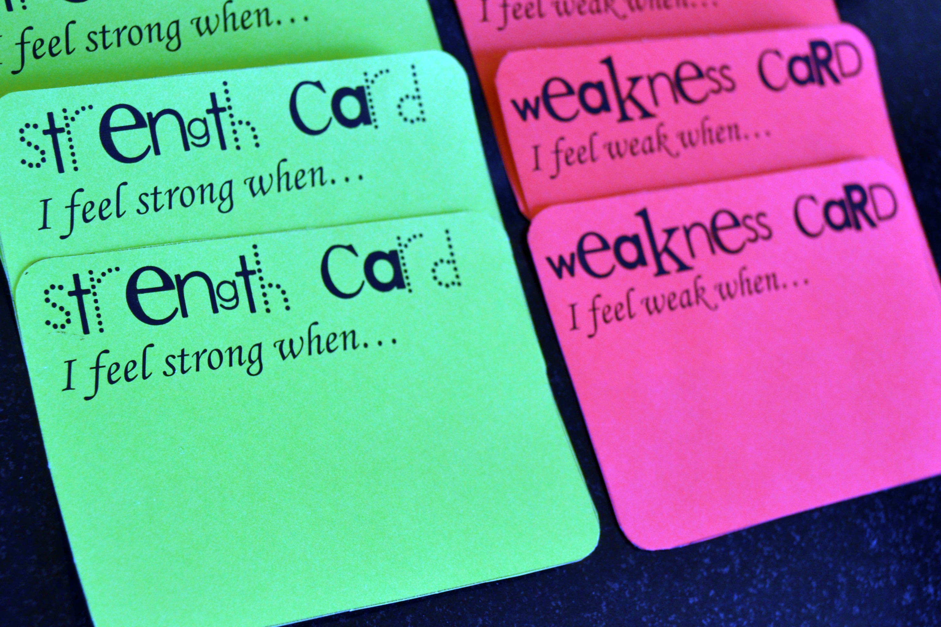 strengths weaknesses exercise amanda rose zampelli the blog strengths weakness cards 01
