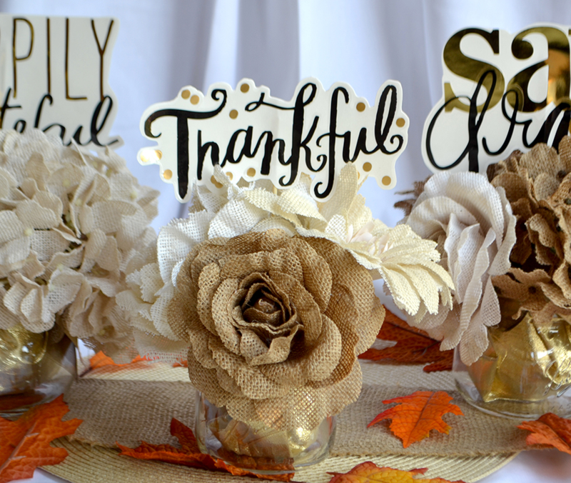 DIY burlap + gold Thanksgiving Centerpieces | via Amanda Rose Zampelli
