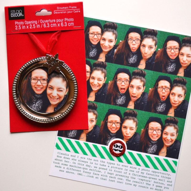 an ornament & a December Daily page made with my machine-gun selfies + the Party!Party! app | via Amanda Rose Zampelli